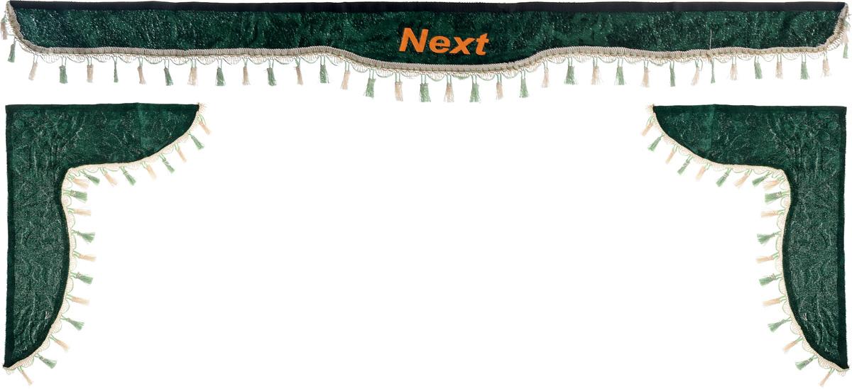 Ламбрекен для автомобильных штор Главдор, на Газель NEXT, цвет: зеленый300166Ламбрекен для автомобильных штор Главдор изготовлен из бархатистого текстиля, оформлен надписью Next по центру и декорирован кисточками по всей длине. Ламбрекен фиксируется при помощи липучек в верхней области лобового стекла и по сторонам боковых стекол. Такой аксессуар защитит от солнечных лучей и добавит уюта в интерьер салона. Размер ламбрекена на лобовое стекло: 180 х 15 см. Размер ламбрекена на боковое стекло: 60 х 45 см.