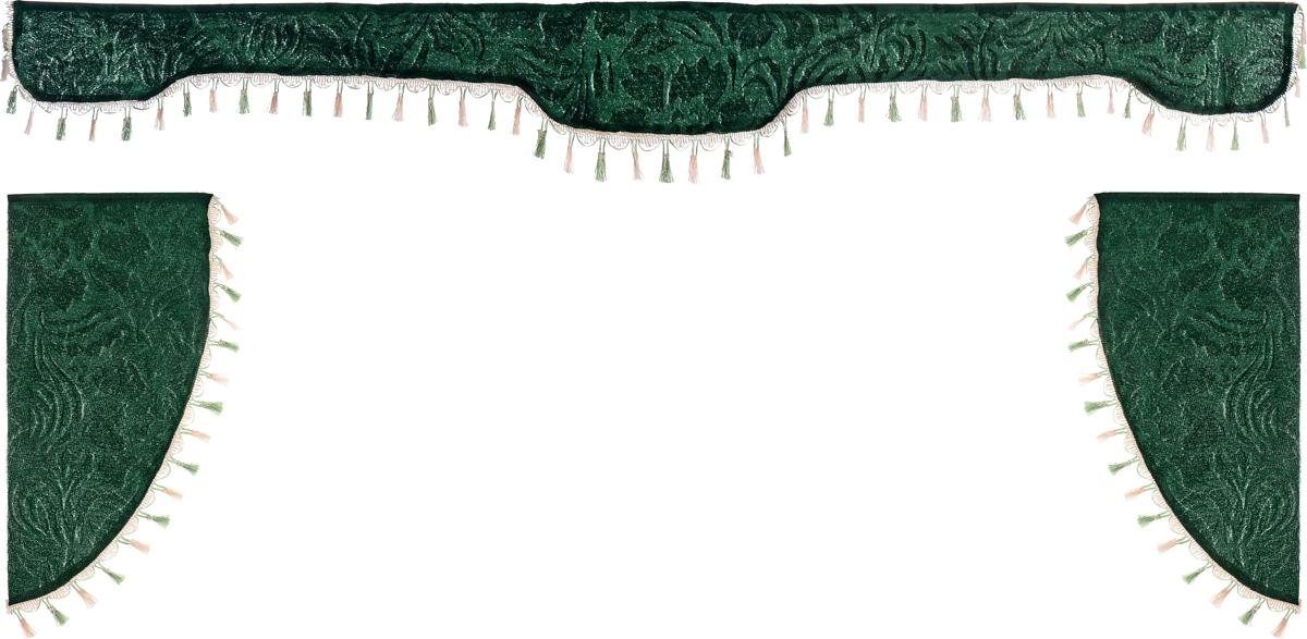Ламбрекен для автомобильных штор Главдор, на грузовые, цвет: зеленый. GL-1673196000000Ламбрекен для автомобильных штор Главдор изготовлен из бархатистого текстиля и декорирован кисточками по всей длине. Ламбрекен фиксируется при помощи липучек в верхней области лобового стекла и по сторонам боковых стекол. Такой аксессуар защитит от солнечных лучей и добавит уюта в интерьер салона. Размер ламбрекена на лобовое стекло: 207 х 20 см. Размер ламбрекена на боковое стекло: 67 х 36 см.