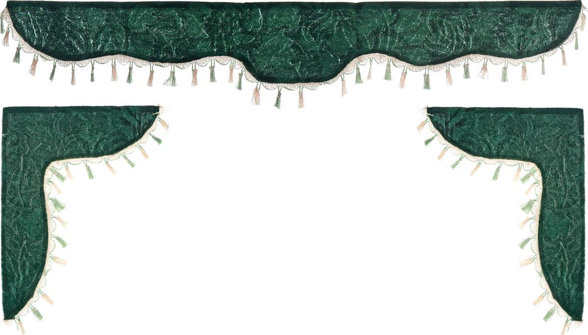 Ламбрекен для автомобильных штор Главдор, на Газель и микроавтобусы, цвет: зеленый300159Ламбрекен для автомобильных штор Главдор изготовлен из бархатистого текстиля и декорирован кисточками по всей длине. Ламбрекен фиксируется при помощи липучек в верхней области лобового стекла и по сторонам боковых стекол. Такой аксессуар защитит от солнечных лучей и добавит уюта в интерьер салона. Размер ламбрекена на лобовое стекло: 140 х 20 см. Размер ламбрекена на боковое стекло: 60 х 45 см.