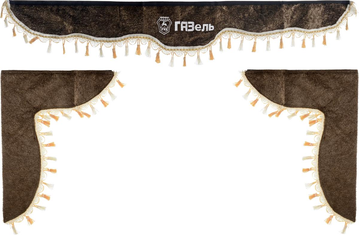 Ламбрекен для автомобильных штор Главдор, на Газель, цвет: коричневыйS01201002Ламбрекен для автомобильных штор Главдор изготовлен из бархатистого текстиля, оформлен надписью Газель и декорирован кисточками по всей длине. Ламбрекен фиксируется при помощи липучек в верхней области лобового стекла и по сторонам боковых стекол. Такой аксессуар защитит от солнечных лучей и добавит уюта в интерьер салона. Размер ламбрекена на лобовое стекло: 140 х 20 см. Размер ламбрекена на боковое стекло: 60 х 45 см.