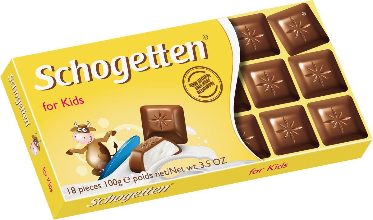 Schogetten for Kids Молочный шоколад с молочной начинкой, 100 г0120710Невероятно нежный альпийский шоколад с молочной начинкой, обогащенной кальцием. Шоколад Schogetten For Kids - это великолепное сочетание кусочков нежного молочного шоколада с кремом из молока, созданный специально для детей.Шоколад Шогеттен изготавливается начиная с 1857 года. В состав входят компоненты только высокого качества. В упаковке шоколада Schogetten 18 сладких квадратиков, которые сложены в цельную плитку шоколада, что подарит незабываемые впечатления от вкуса и возможность поделиться лакомством с друзьями.