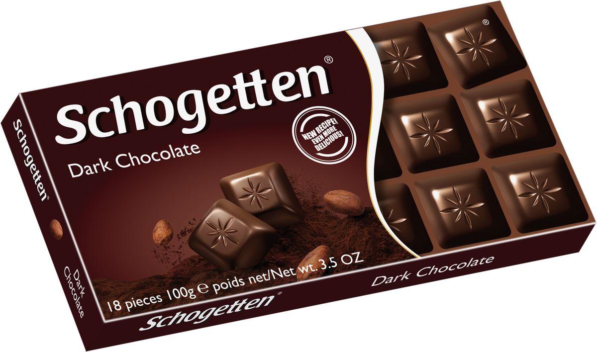 Schogetten Dark Темный шоколад, 100 г0120710Шоколад, который не нужно ломать. Восемнадцать кусочков пятидесяти процентного настоящего качественного горького немецкого шоколада. Этот вкус достоин истинных ценителей шоколада. Шоколад Schogеtten Dark Chocolate разделен на традиционные для этого продукта шагетки, что придает шоколаду изысканность. Вам не придется ломать плитку на неравные кусочки, за вас это сделали на фабрике. Поэтому смело открывайте упаковку этого немецкого шоколада и наслаждайтесь его горьким вкусом. Европейское качество соблюдается при производстве, ведь педантичные немцы не могут упустить ни одной детали. Именно горький шоколад рекомендуется употреблять при больших умственных нагрузках. Поэтому проявите заботу по отношению к своим деткам, купите им плитку этого наслаждения вкусом. Поверьте, они оценят ваш порыв. К тому же, темный шоколад с высоким процентом содержания какао, является полезным для употребления продуктом.