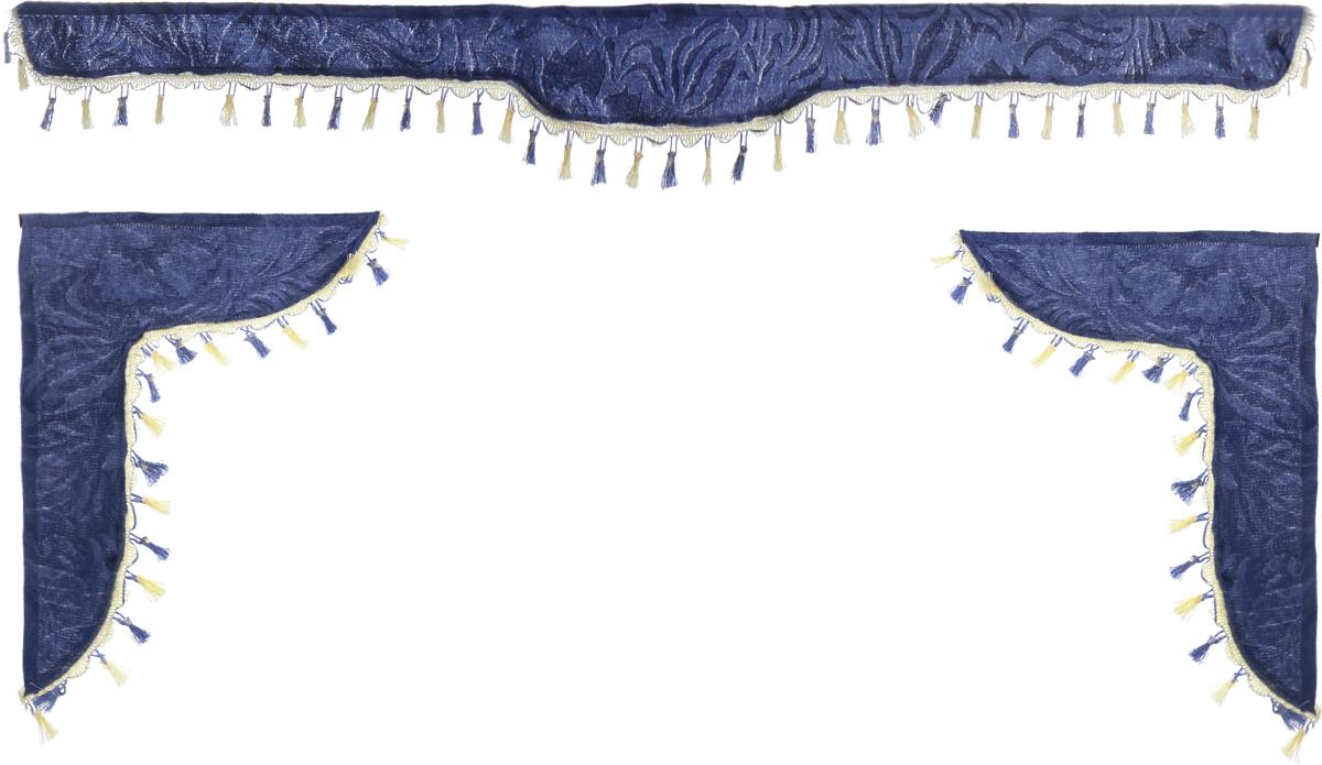 Ламбрекен для автомобильных штор Главдор, на Газель NEXT и микроавтобусы, цвет: серо-голубой94672Ламбрекен для автомобильных штор Главдор изготовлен из бархатистого текстиля и декорирован кисточками по всей длине. Ламбрекен фиксируется при помощи липучек в верхней области лобового стекла и по сторонам боковых стекол. Такой аксессуар защитит от солнечных лучей и добавит уюта в интерьер салона.Размер ламбрекена на лобовое стекло: 180 х 15 см. Размер ламбрекена на боковое стекло: 60 х 45 см.