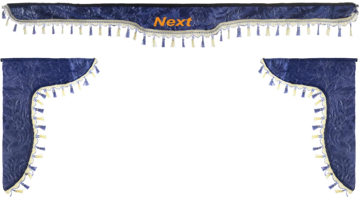 Ламбрекен для автомобильных штор Главдор, на Газель NEXT, цвет: серо-голубой94672Ламбрекен для автомобильных штор Главдор изготовлен из бархатистого текстиля, оформлен надписью Next по центру и декорирован кисточками по всей длине. Ламбрекен фиксируется при помощи липучек в верхней области лобового стекла и по сторонам боковых стекол. Такой аксессуар защитит от солнечных лучей и добавит уюта в интерьер салона. Размер ламбрекена на лобовое стекло: 180 х 15 см. Размер ламбрекена на боковое стекло: 60 х 45 см.