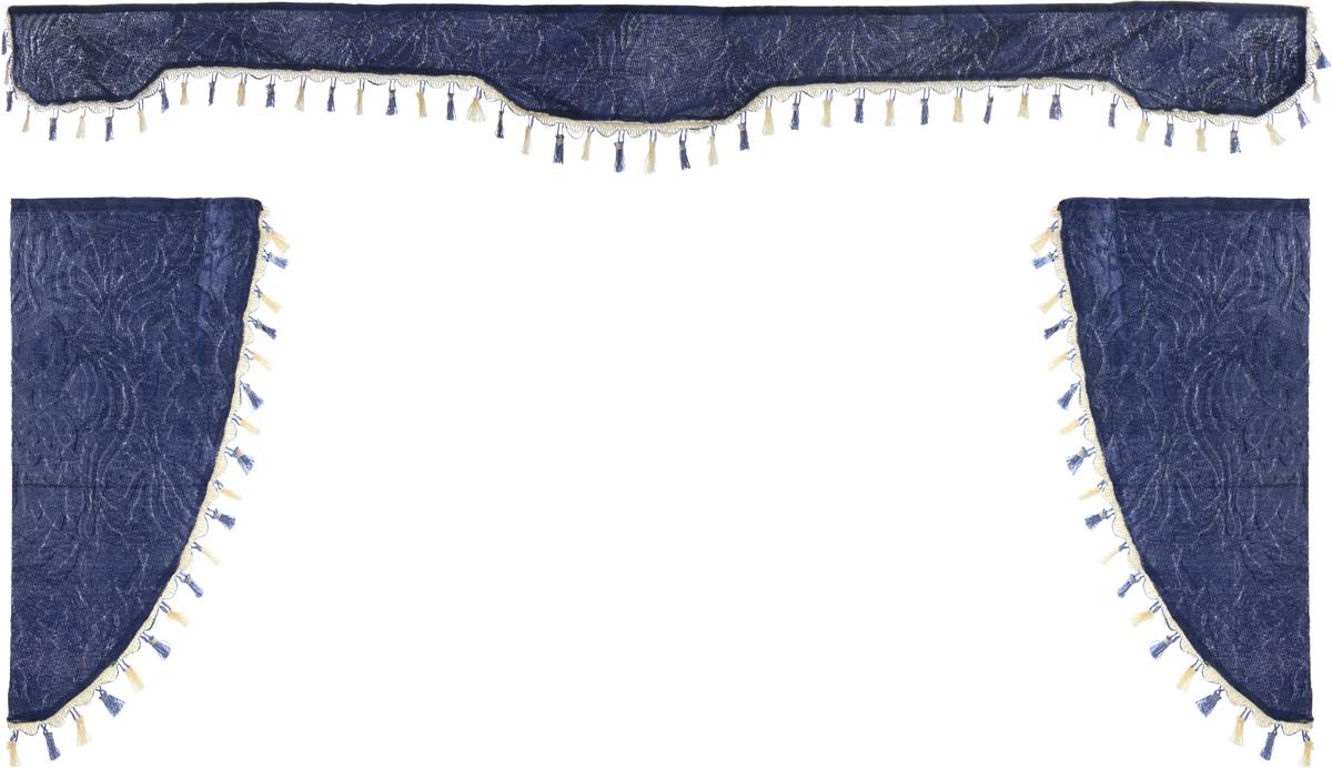Ламбрекен для автомобильных штор Главдор, на грузовые, цвет: серо-голубой. GL-17021395599Ламбрекен для автомобильных штор Главдор изготовлен из бархатистого текстиля и декорирован кисточками по всей длине. Ламбрекен фиксируется при помощи липучек в верхней области лобового стекла и по сторонам боковых стекол. Такой аксессуар защитит от солнечных лучей и добавит уюта в интерьер салона. Размер ламбрекена на лобовое стекло: 207 х 20 см. Размер ламбрекена на боковое стекло: 67 х 36 см.
