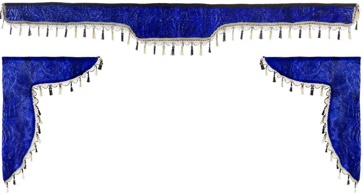 Ламбрекен для автомобильных штор Главдор, на Газель NEXT и микроавтобусы, цвет: синийS01201009Ламбрекен для автомобильных штор Главдор изготовлен из бархатистого текстиля и декорирован кисточками по всей длине. Ламбрекен фиксируется при помощи липучек в верхней области лобового стекла и по сторонам боковых стекол. Такой аксессуар защитит от солнечных лучей и добавит уюта в интерьер салона.Размер ламбрекена на лобовое стекло: 180 х 15 см. Размер ламбрекена на боковое стекло: 60 х 45 см.
