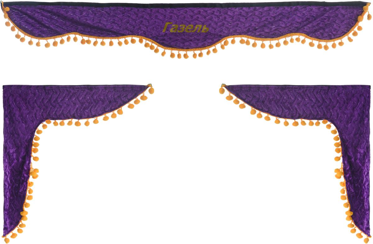 Ламбрекен для автомобильных штор Главдор, на Газель, цвет: фиолетовыйS01201009Ламбрекен для автомобильных штор Главдор изготовлен из бархатистого текстиля, оформлен надписью Газель и декорирован помпонами по всей длине. Ламбрекен фиксируется при помощи липучек в верхней области лобового стекла и по сторонам боковых стекол. Такой аксессуар защитит от солнечных лучей и добавит уюта в интерьер салона. Размер ламбрекена на лобовое стекло: 130 х 20 см. Размер ламбрекена на боковое стекло: 57 х 45 см.