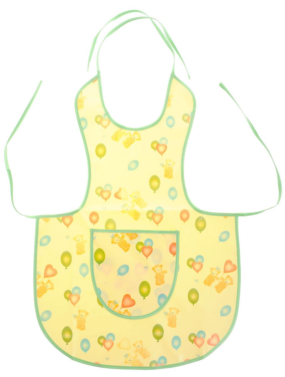 Колорит Фартук защитный Мишки с шариками цвет желтый зеленый0071_белый, голубойЗащитный фартук Колорит Мишки с шариками с непромокаемым слоем защитит одежду ребенка во время занятий творчеством.Фартук на завязках - выбор практичных мамочек, так как им можно пользоваться более длительное время. Пока ваш малыш растет, благодаря завязкам вы сможете легко контролировать длину изделия и регулировать размер горловины. Фартук изготовлен из клеенки подкладной с ПВХ покрытием и дополнен широким карманом. Лицевая сторона оформлена забавным изображением.