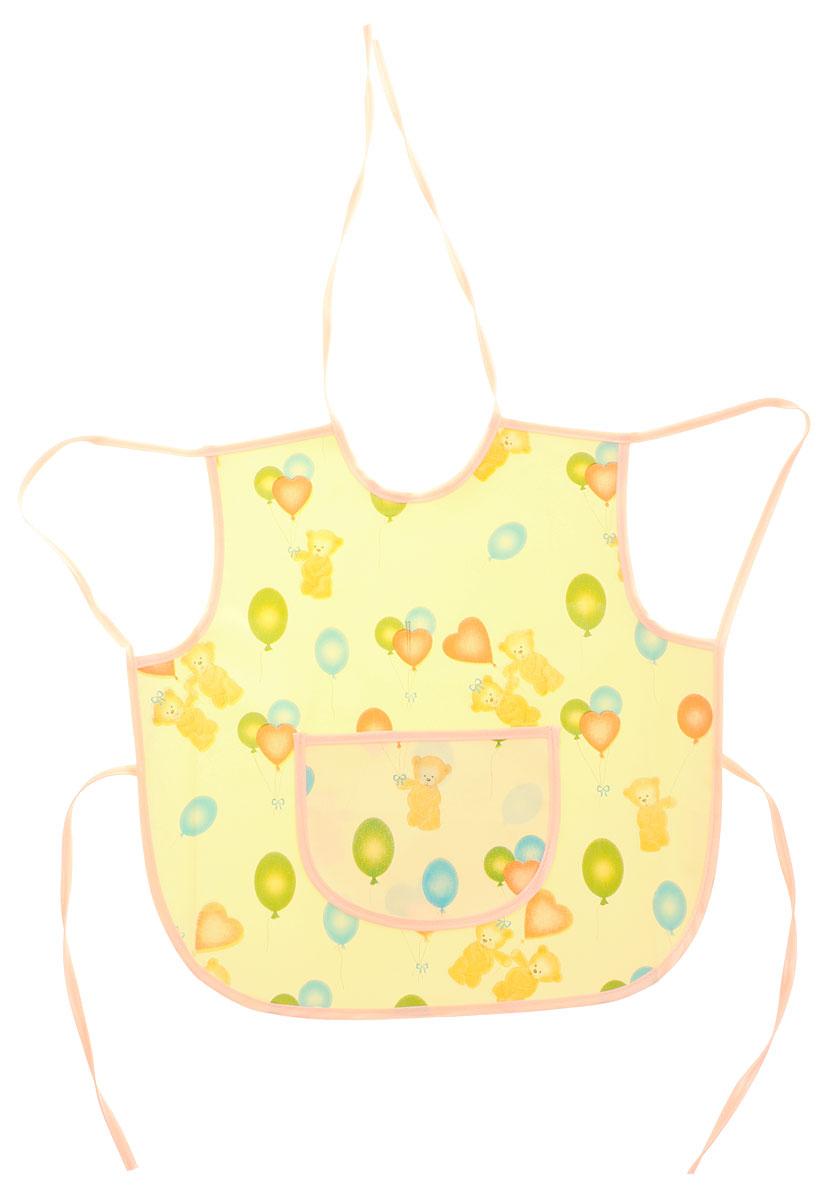 Колорит Фартук защитный Мишки с шариками цвет желтый персиковый 36 х 36 см72523WDЗащитный фартук Колорит Мишки с шариками с непромокаемым слоем защитит одежду малыша во время кормления и освободит родителей от дополнительных хлопот.Фартук на завязках - выбор практичных мамочек, так как им можно пользоваться более длительное время. Пока ваш малыш растет, благодаря завязкам вы сможете легко контролировать длину изделия и регулировать размер горловины. Фартук изготовлен из клеенки подкладной с ПВХ покрытием и дополнен широким карманом. Лицевая сторона оформлена забавным изображением.