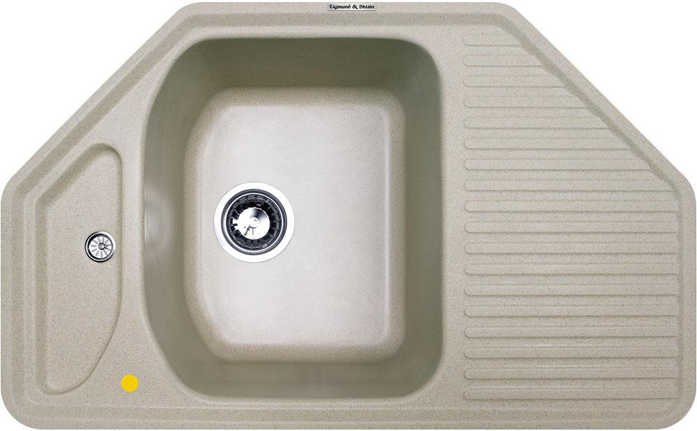Мойка кухонная Zigmund & Shtain, врезная, 1 чаша, цвет: речной песок. eckig800rechteck645Zigmund & Shtain ECKIG 800, врезная кухонная мойка, иск.гранит, 1 чаша, форма- угловая, глубина-21, Цвет речной песок