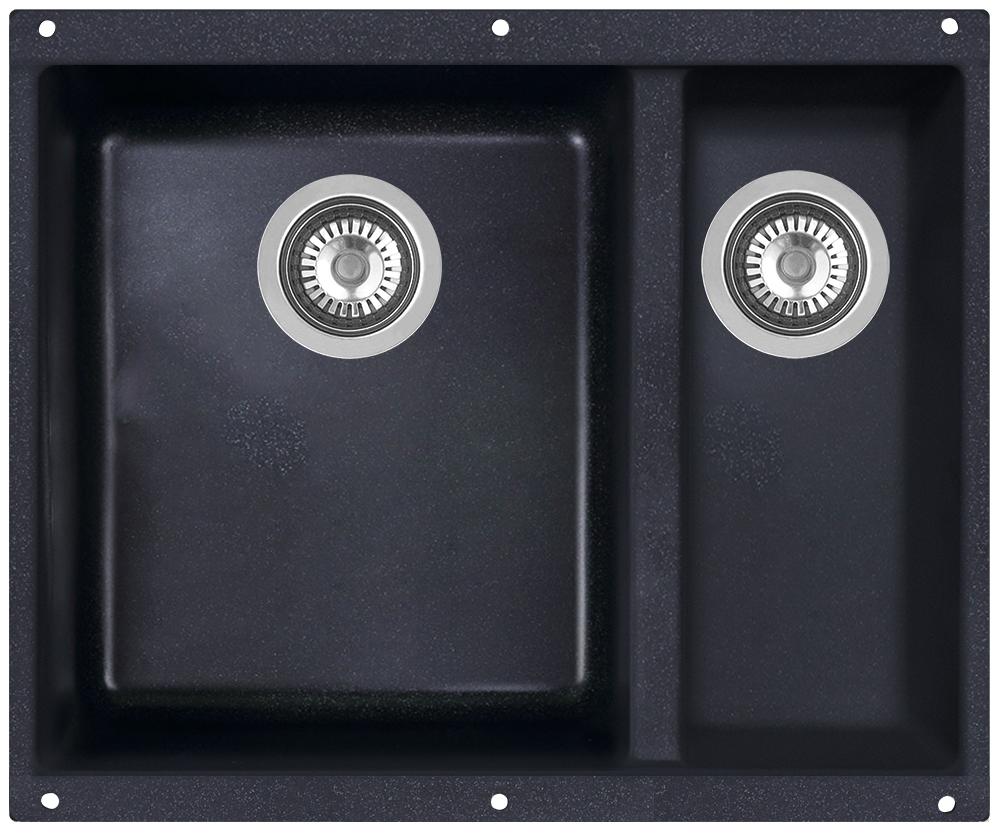 Мойка кухонная Zigmund & Shtain, подстольная, 2 чаши, цвет: темная скала. integra5002integra500Zigmund & Shtain INTEGRA 500.2, кухонная мойка с подстольной установкой , иск.гранит, 2 чаши, глубина-19см-основн.13 см-доп. форма- прямоугольная, , Цвет Темная скала