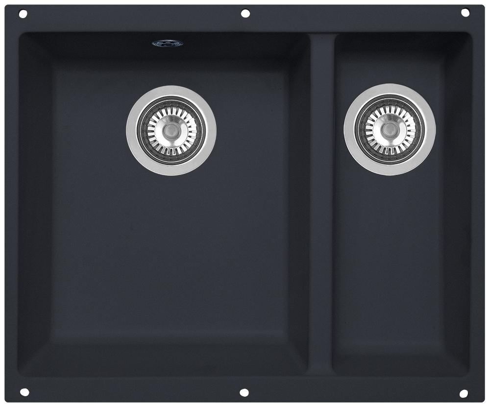 Мойка кухонная Zigmund & Shtain, подстольная, 2 чаши, цвет: черный базальт. integra5002platz560Zigmund & Shtain INTEGRA 500.2, кухонная мойка с подстольной установкой , иск.гранит, 2 чаши, глубина-19см-основн.13 см-доп. форма- прямоугольная, , Цвет Черный бальзам