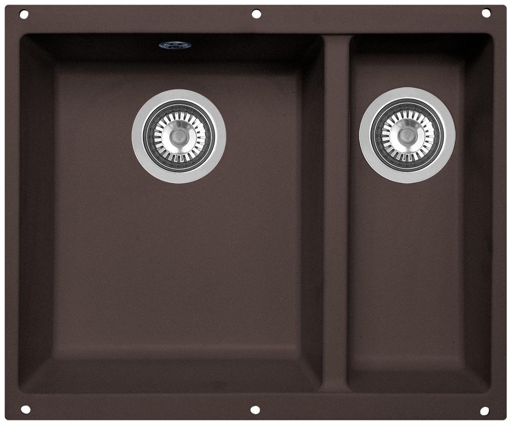Мойка кухонная Zigmund & Shtain, подстольная, 2 чаши, цвет: швейцарский шоколад. integra5002V30W965i87Zigmund & Shtain INTEGRA 500.2, кухонная мойка с подстольной установкой , иск.гранит, 2 чаши, глубина-19см-основн.13 см-доп. форма- прямоугольная, , Цвет Швейцарский шоколад