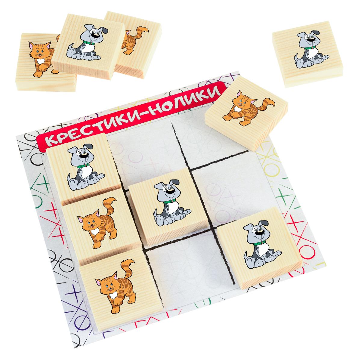 Развивающие деревянные игрушки Обучающая игра Крестики-нолики Кошки против собак