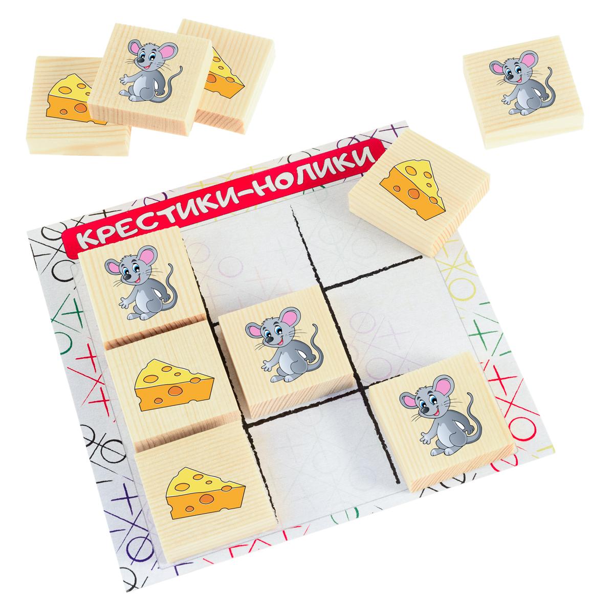 Развивающие деревянные игрушки Обучающая игра Крестики-нолики Мышка и сыр