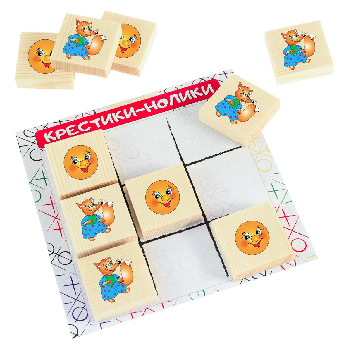 Развивающие деревянные игрушки Обучающая игра Крестики-нолики Лиса и Колобок