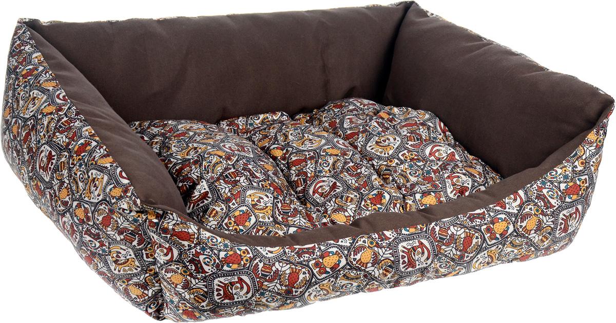 Лежак для собак Happy Puppy Этнос, 57 х 44 х 15 см0120710Мягкий лежак Happy Puppy Этнос обязательно понравится вашему питомцу. Он выполнен из высококачественного хлопка, а наполнитель - из мягкого холлофайбера. Такой материал не теряет своей формы долгое время. Лежак оснащен мягкой съемной подстилкой. Основание изделия выполнено из полиэстера с водоотталкивающей пропиткой. Высокие бортики обеспечат вашему любимцу уют. За изделием легко ухаживать, его можно стирать вручную. Мягкий лежак станет излюбленным местом вашего питомца, подарит ему спокойный и комфортный сон, а также убережет вашу мебель от шерсти.