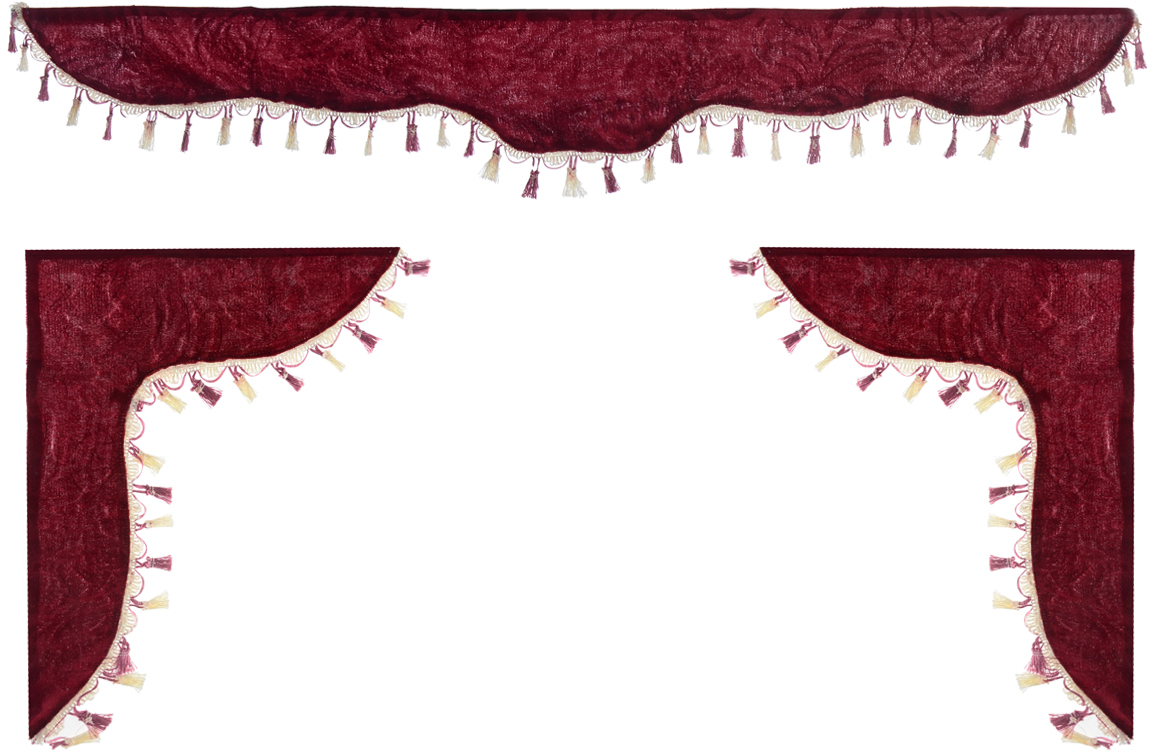 Ламбрекен для автомобильных штор Главдор, на Газель и микроавтобусы, цвет: бордовыйTEMP-05Ламбрекен для автомобильных штор Главдор изготовлен из бархатистого текстиля и декорирован кисточками по всей длине. Ламбрекен фиксируется при помощи липучек в верхней области лобового стекла и по сторонам боковых стекол. Такой аксессуар защитит от солнечных лучей и добавит уюта в интерьер салона. Размер ламбрекена на лобовое стекло: 140 х 20 см. Размер ламбрекена на боковое стекло: 60 х 45 см.