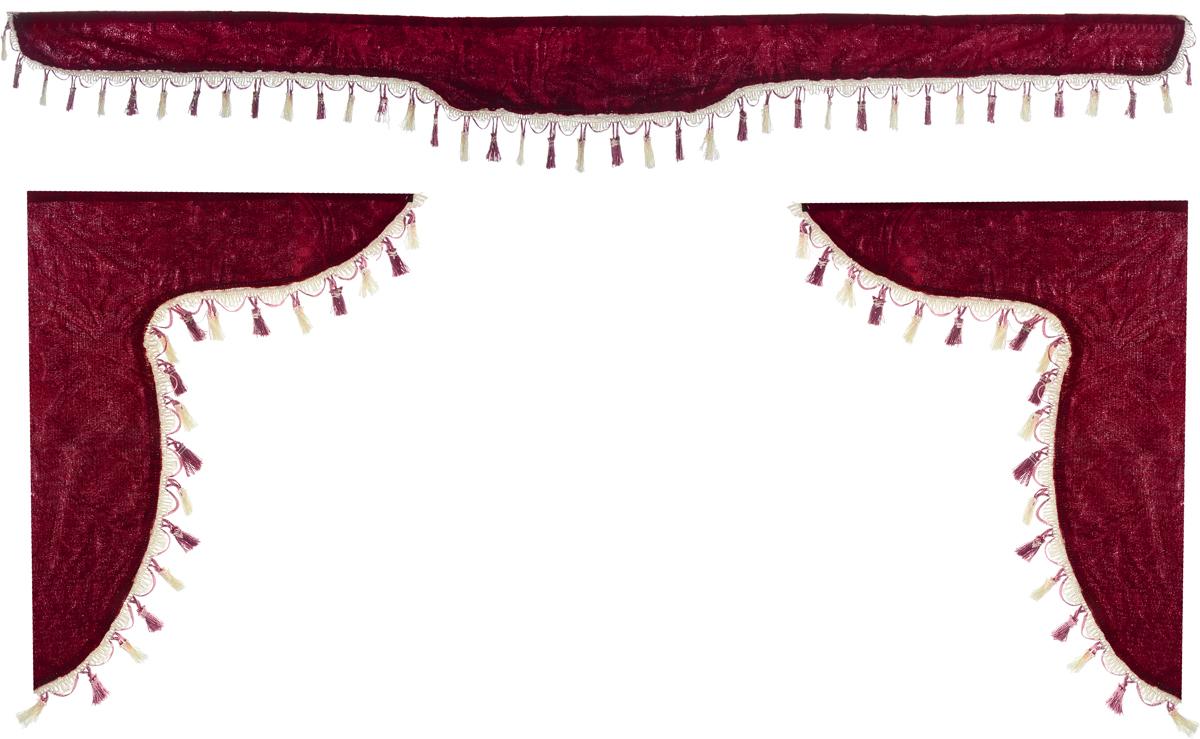 Ламбрекен для автомобильных штор Главдор, на Газель Next и микроавтобусы, цвет: бордовый21395599Ламбрекен для автомобильных штор Главдор изготовлен из бархатистого текстиля и декорирован кисточками по всей длине. Ламбрекен фиксируется при помощи липучек в верхней области лобового стекла и по сторонам боковых стекол. Такой аксессуар защитит от солнечных лучей и добавит уюта в интерьер салона.Размер ламбрекена на лобовое стекло: 180 х 15 см. Размер ламбрекена на боковое стекло: 60 х 45 см.