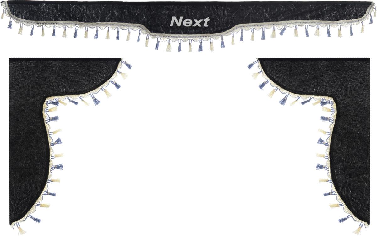Ламбрекен для автомобильных штор Главдор, на Газель NEXT, цвет: черныйDH2400D/ORЛамбрекен для автомобильных штор Главдор изготовлен из бархатистого текстиля, оформлен надписью Next по центру и декорирован кисточками по всей длине. Ламбрекен фиксируется при помощи липучек в верхней области лобового стекла и по сторонам боковых стекол. Такой аксессуар защитит от солнечных лучей и добавит уюта в интерьер салона. Размер ламбрекена на лобовое стекло: 180 х 15 см. Размер ламбрекена на боковое стекло: 60 х 45 см.