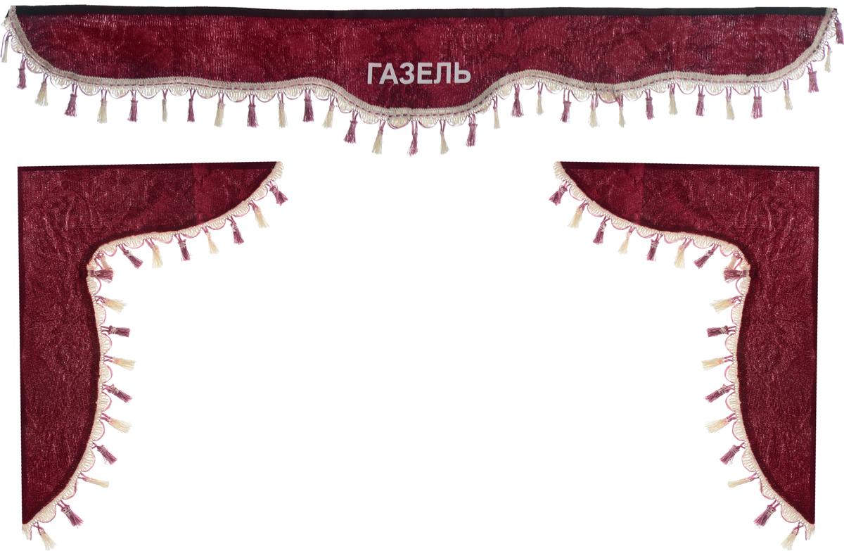 Ламбрекен для автомобильных штор Главдор, на Газель, цвет: бордовый300129Ламбрекен для автомобильных штор Главдор изготовлен из бархатистого текстиля, оформлен надписью Газель и декорирован кисточками по всей длине. Ламбрекен фиксируется при помощи липучек в верхней области лобового стекла и по сторонам боковых стекол. Такой аксессуар защитит от солнечных лучей и добавит уюта в интерьер салона. Размер ламбрекена на лобовое стекло: 140 х 20 см. Размер ламбрекена на боковое стекло: 60 х 45 см.