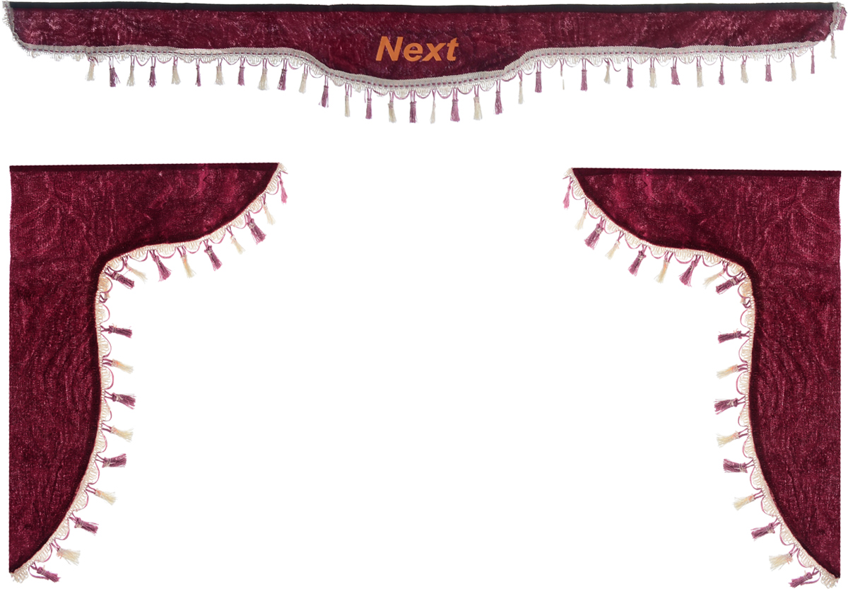 Ламбрекен для автомобильных штор Главдор, на Газель NEXT, цвет: бордовыйDH2400D/ORЛамбрекен для автомобильных штор Главдор изготовлен из бархатистого текстиля, оформлен надписью Next по центру и декорирован кисточками по всей длине. Ламбрекен фиксируется при помощи липучек в верхней области лобового стекла и по сторонам боковых стекол. Такой аксессуар защитит от солнечных лучей и добавит уюта в интерьер салона. Размер ламбрекена на лобовое стекло: 180 х 15 см. Размер ламбрекена на боковое стекло: 60 х 45 см.