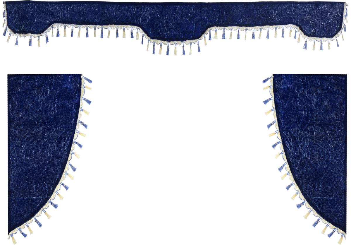 Ламбрекен для автомобильных штор Главдор, на грузовые, цвет: темно-синий. GL-172Ветерок 2ГФЛамбрекен для автомобильных штор Главдор изготовлен из бархатистого текстиля и декорирован кисточками по всей длине. Ламбрекен фиксируется при помощи липучек в верхней области лобового стекла и по сторонам боковых стекол. Такой аксессуар защитит от солнечных лучей и добавит уюта в интерьер салона. Размер ламбрекена на лобовое стекло: 207 х 20 см. Размер ламбрекена на боковое стекло: 67 х 36 см.