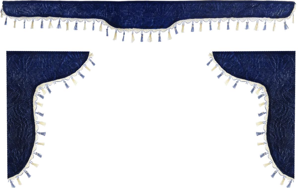 Ламбрекен для автомобильных штор Главдор, на Газель NEXT и микроавтобусы, цвет: темно-синийВетерок 2ГФЛамбрекен для автомобильных штор Главдор изготовлен из бархатистого текстиля и декорирован кисточками по всей длине. Ламбрекен фиксируется при помощи липучек в верхней области лобового стекла и по сторонам боковых стекол. Такой аксессуар защитит от солнечных лучей и добавит уюта в интерьер салона.Размер ламбрекена на лобовое стекло: 180 х 15 см. Размер ламбрекена на боковое стекло: 60 х 45 см.