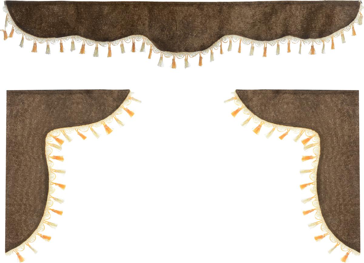 Ламбрекен для автомобильных штор Главдор, на Газель и микроавтобусы, цвет: коричневый21395599Ламбрекен для автомобильных штор Главдор изготовлен из бархатистого текстиля и декорирован кисточками по всей длине. Ламбрекен фиксируется при помощи липучек в верхней области лобового стекла и по сторонам боковых стекол. Такой аксессуар защитит от солнечных лучей и добавит уюта в интерьер салона. Размер ламбрекена на лобовое стекло: 140 х 20 см. Размер ламбрекена на боковое стекло: 60 х 45 см.