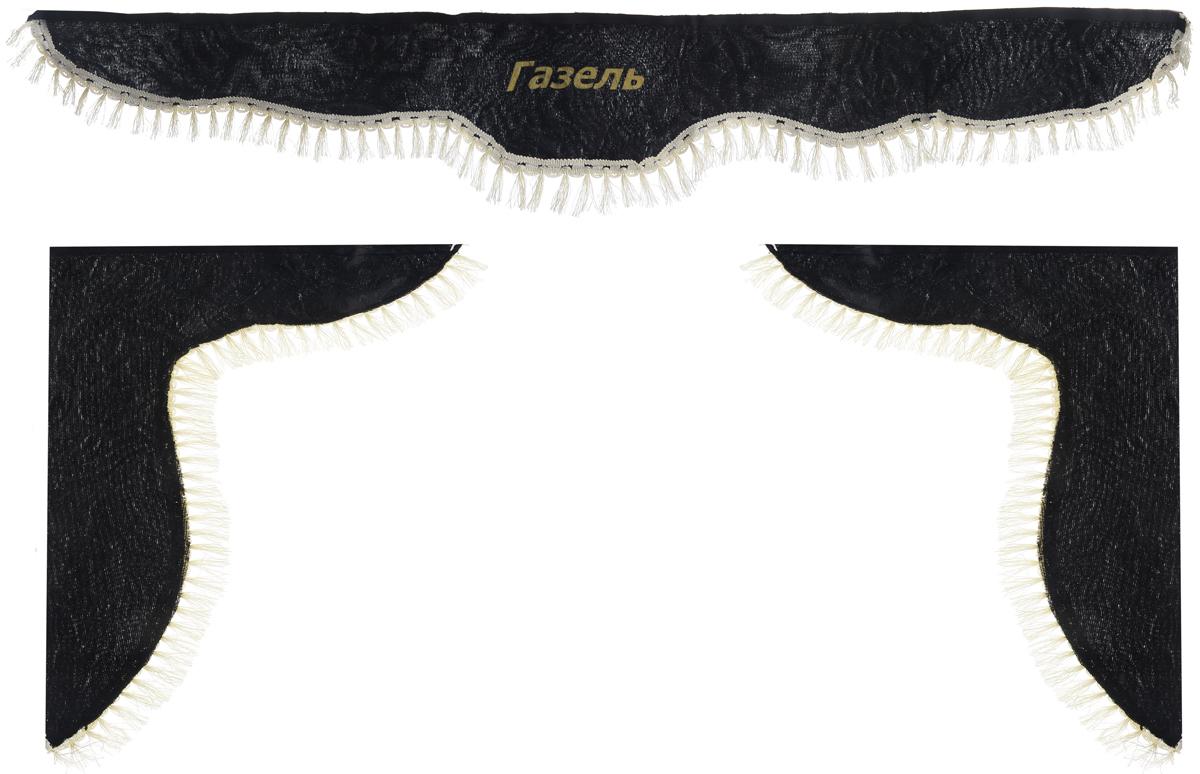Ламбрекен для автомобильных штор Главдор, на Газель, цвет: черный21395599Ламбрекен для автомобильных штор Главдор изготовлен из бархатистого текстиля, оформлен надписью Газель и декорирован кисточками по всей длине. Ламбрекен фиксируется при помощи липучек в верхней области лобового стекла и по сторонам боковых стекол. Такой аксессуар защитит от солнечных лучей и добавит уюта в интерьер салона. Размер ламбрекена на лобовое стекло: 140 х 20 см. Размер ламбрекена на боковое стекло: 60 х 45 см.