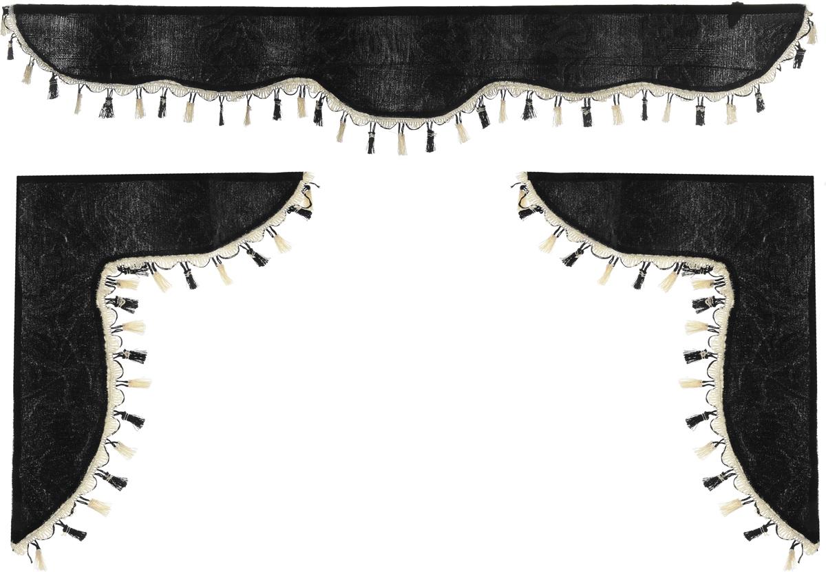 Ламбрекен для автомобильных штор Главдор, на Газель и микроавтобусы, цвет: черный21395599Ламбрекен для автомобильных штор Главдор изготовлен из бархатистого текстиля и декорирован кисточками по всей длине. Ламбрекен фиксируется при помощи липучек в верхней области лобового стекла и по сторонам боковых стекол. Такой аксессуар защитит от солнечных лучей и добавит уюта в интерьер салона. Размер ламбрекена на лобовое стекло: 140 х 20 см. Размер ламбрекена на боковое стекло: 60 х 45 см.