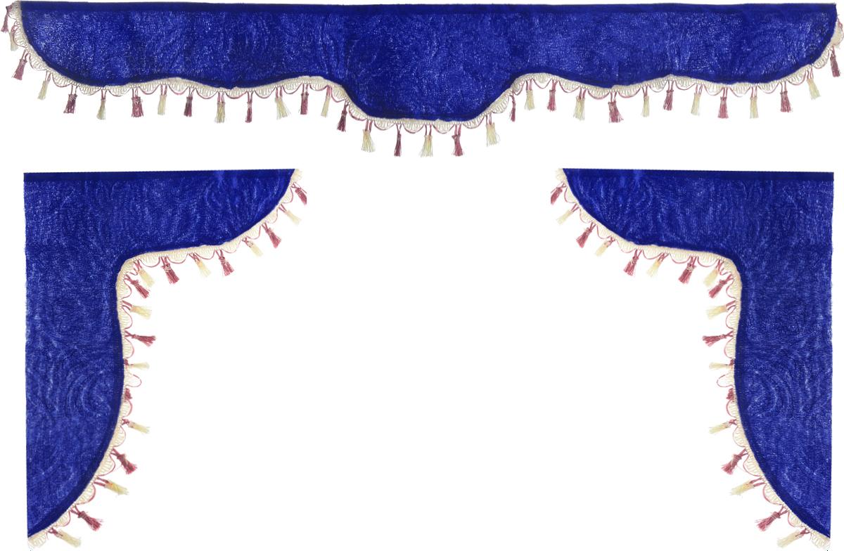 Ламбрекен для автомобильных штор Главдор, на Газель и микроавтобусы, цвет: синий, розовыйS01201009Ламбрекен для автомобильных штор Главдор изготовлен из бархатистого текстиля и декорирован кисточками по всей длине. Ламбрекен фиксируется при помощи липучек в верхней области лобового стекла и по сторонам боковых стекол. Такой аксессуар защитит от солнечных лучей и добавит уюта в интерьер салона. Размер ламбрекена на лобовое стекло: 140 х 20 см. Размер ламбрекена на боковое стекло: 60 х 45 см.