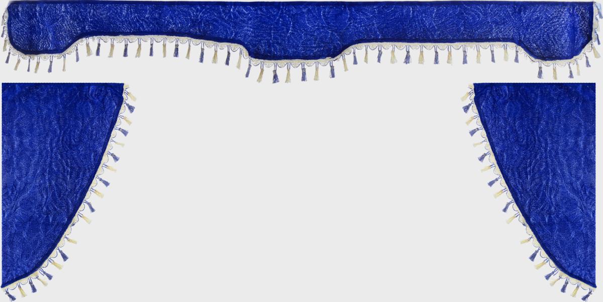 Ламбрекен для автомобильных штор Главдор, на грузовые, цвет: синий. GL-17121395599Ламбрекен для автомобильных штор Главдор изготовлен из бархатистого текстиля и декорирован кисточками по всей длине. Ламбрекен фиксируется при помощи липучек в верхней области лобового стекла и по сторонам боковых стекол. Такой аксессуар защитит от солнечных лучей и добавит уюта в интерьер салона. Размер ламбрекена на лобовое стекло: 207 х 20 см. Размер ламбрекена на боковое стекло: 67 х 36 см.