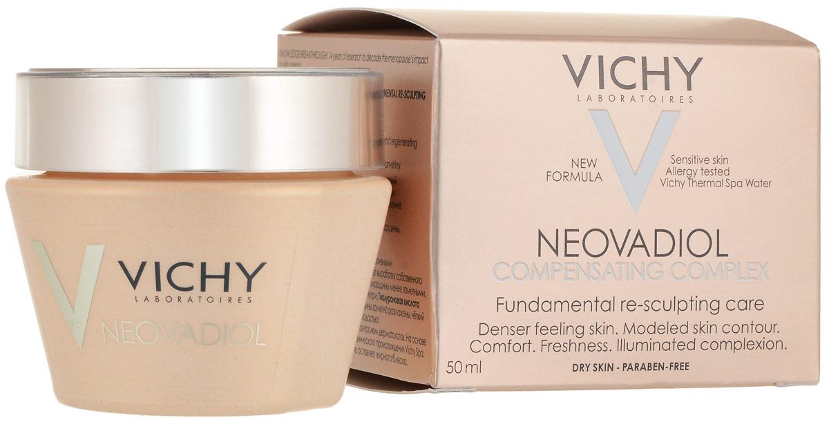 Vichy Neovadiol Компенсирующий комплекс крем-уход для кожи в период менопаузы для сухой и очень сухой кожи, 50 мл823200В результате 14 лет исследований был разработан инновационный уход, который помогает компенсировать замедление естественного механизма регенерации кожи вновь наполнить ее молодостью.Замедление процессов регенерации - это первопричина быстрых изменений кожи в период менопаузы: - Снижение плотности кожи; - Изменения овала лица; - Углубление морщин; - Снижение эластичности кожи; - Неровный микрорельеф; - Сухость, хрупкость кожи.Neovadiol компенсирующий комплекс объединяет 4 активных дерматологических ингредиента в рекордной концентрации: про-ксилан активирует выработку собственного коллагена кожи, восстанавливая слой за слоем и делая морщины менее заметными; Hepes и Hydrovance ускоряют процессы регенерации изнутри;гиалуроновая кислота интенсивно увлажняет кожу.Для чувствительной кожи, гипоаллергенно, на основе минерализующей термальной воды.