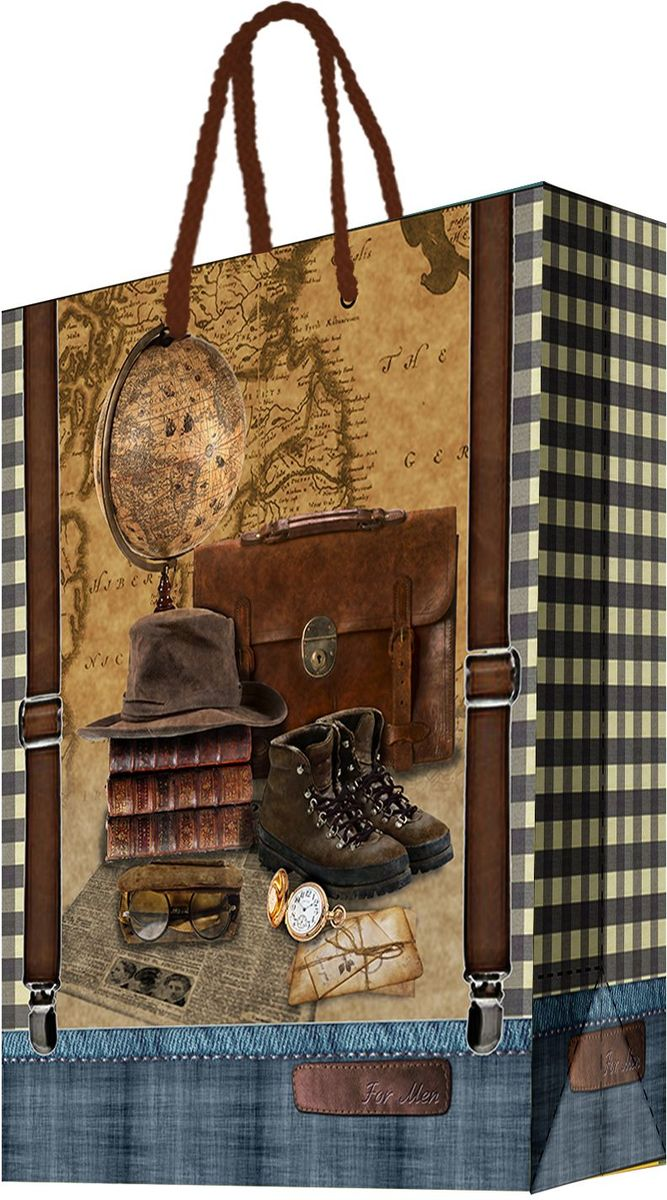 Пакет подарочный Magic Home Сборы путешественника, 40,6 х 48,9 х 19 смC0042416Подарочный пакет Magic Home, изготовленный из плотной бумаги, станет незаменимым дополнением к выбранному подарку. Дно изделия укреплено картоном, который позволяет сохранить форму пакета и исключает возможность деформации дна под тяжестью подарка. Пакет выполнен с глянцевой ламинацией, что придает ему прочность, а изображению - яркость и насыщенность цветов. Для удобной переноски имеются две ручки в виде шнурков.Подарок, преподнесенный в оригинальной упаковке, всегда будет самым эффектным и запоминающимся. Окружите близких людей вниманием и заботой, вручив презент в нарядном, праздничном оформлении.Плотность бумаги: 157 г/м2.