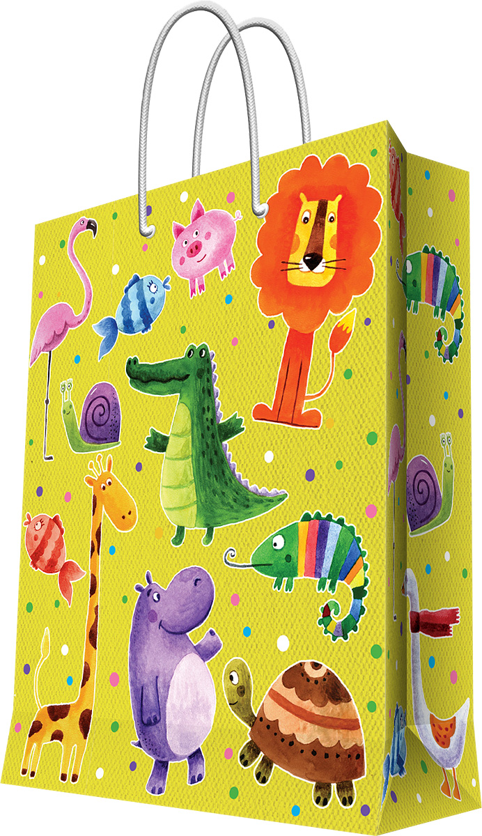 Пакет подарочный Magic Home Веселые зверята, 40,6 х 48,9 х 19 смBUM004Подарочный пакет Magic Home, изготовленный из плотной бумаги, станет незаменимым дополнением к выбранному подарку. Дно изделия укреплено картоном, который позволяет сохранить форму пакета и исключает возможность деформации дна под тяжестью подарка. Пакет выполнен с глянцевой ламинацией, что придает ему прочность, а изображению - яркость и насыщенность цветов. Для удобной переноски имеются две ручки в виде шнурков.Подарок, преподнесенный в оригинальной упаковке, всегда будет самым эффектным и запоминающимся. Окружите близких людей вниманием и заботой, вручив презент в нарядном, праздничном оформлении.Плотность бумаги: 157 г/м2.