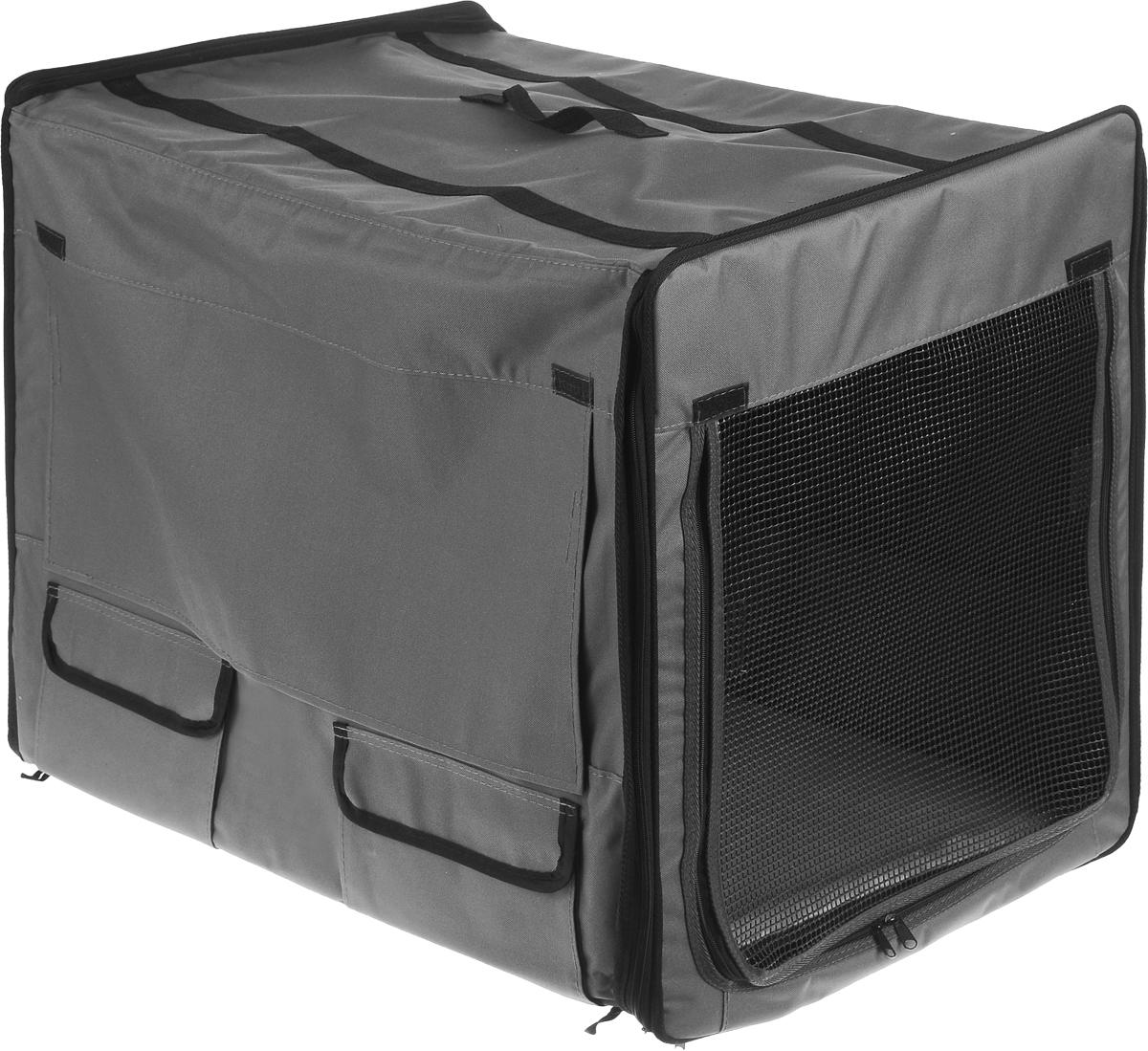 Клетка для животных Заря-Плюс, выставочная, цвет: серый, 75 х 60 х 50 см0120710Выставочная палатка-клетка Заря-Плюс - трансформер, благодаря чему палатка легко и просто собирается и разбирается. На выставке вы самостоятельно соберете палатку за несколько минут, застегнув молнии с двух сторон палатки.Лицевая и обратная стороны палатки выполнены одинаково:- наполовину из сетки, которая при необходимости закрывается шторкой;- в открытом состоянии шторка фиксируется с помощью липучки;- имеется 2 больших кармана для мелочей.Одна из боковых частей палатки выполнена из сетки, которая пристегивается с помощью молнии.В открытом состоянии сетку можно закрепить с помощью липучек.Другая боковая часть палатки выполнена наполовину из сетки, которая при необходимости закрывается шторкой.В открытом состоянии шторка фиксируется с помощью липучки.С этой стороны палатки имеется большой карман.В комплект палатки входит съемное дно из ДВП и меховой матрац; при необходимости матрац легко снимается для стирки. Обратите внимание на оформление выставочной клетки: при необходимости вы сможете закрыть все стороны палаток с помощью шторок.В собранном виде палатка довольно компактна, при хранении занимает мало места.Палатка переносится в сумке, которая входит в комплект.Для удобной переноски чехол имеет две короткие и одну длинную ручки, также на чехле имеется 2 больших кармана.