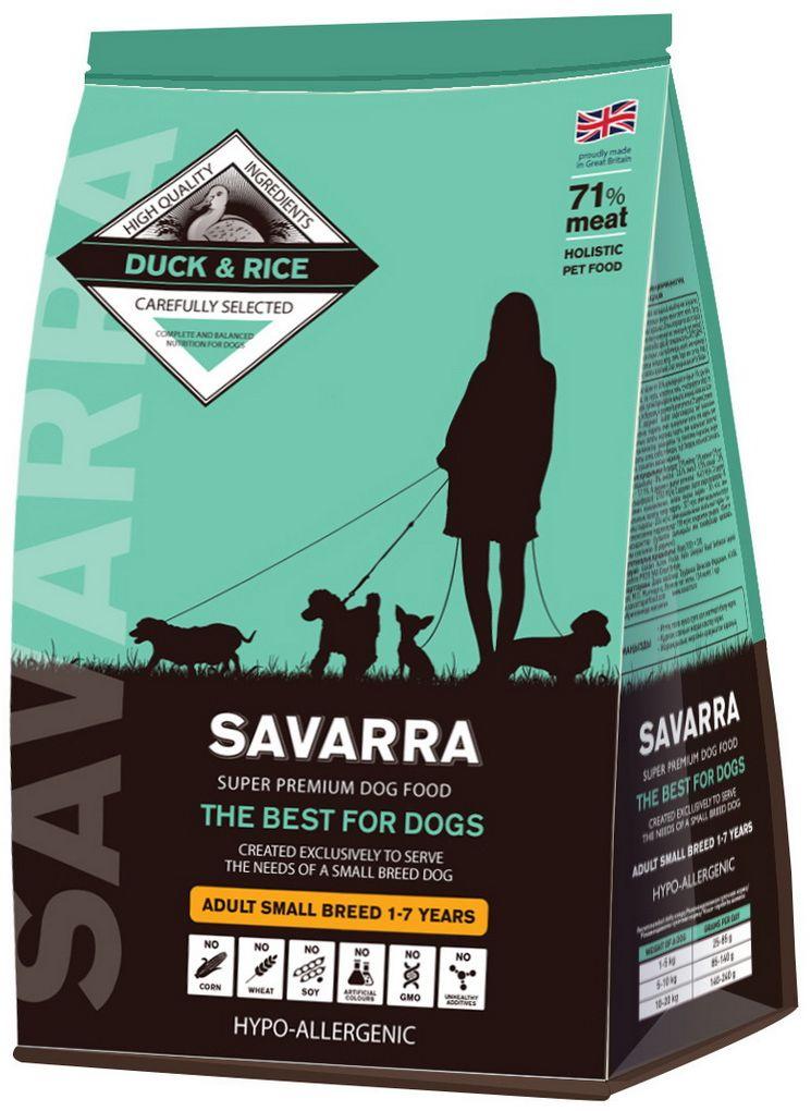 Корм сухой Savarra для взрослых собак мелких пород, с уткой и рисом, 3 кг люми токоферола ацетат витамин е