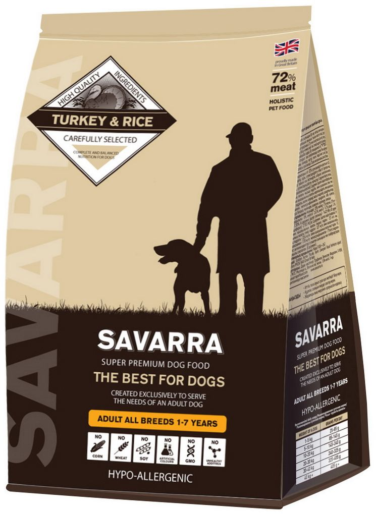 Корм сухой Savarra для взрослых собак, с индейкой и рисом, 1 кг00-00001269Сухой корм Savarra - это гипоаллергенный полнорационный корм для взрослых собак всех пород.Изготовлен на основе свежего мяса индейки, мяса наиболее диетического и нежного, обладающего прекрасной усвояемостью и содержанием питательных веществ. Совершенно очевидно, что польза индейки в том, что ее мясо содержит в большом количестве такие витамины, как А и Е. По содержанию такого вещества, как натрий индейка существенно опережает даже говядину и телятину. Польза индейки в том, что благодаря натрию с употреблением этого мяса происходит пополнение объемов плазмы в крови и обеспечиваются нормальные обменные процессы. Рацион Savarra содержит все необходимое для удовлетворения потребностей животного в питательных веществах, витаминах и минералах. Состав: свежее мясо индейки, дегидрированное мясо индейки, коричневый рис, ячмень, овес, дегидрированное мясо лосося, жир индейки, семена льна, натуральный ароматизатор, горох, мякоть свеклы, масло лосося, дегидрированное яйцо, витамин А (ретинола ацетат), витамин D3 (холекальциферол), витамин Е (альфа-токоферола ацетат), аминокислотный хелат цинка гидрат, аминокислотный хелат железа гидрат, аминокислотный хелат марганца гидрат, аминокислотный хелат меди гидрат, холина хлорид, зеленые мидии, экстракт цикория, глюкозамин, метилсульфонилметан, хондроитин, морковь, помидоры, ромашка, соль, водоросли, клюква, петрушка, черника, шпинат.Пищевая ценность: белки - 28%, масла и жиры - 17%, клетчатка - 2.5%, зола - 8.5%, влажность - 8%, омега-6 - 2.61%, омега-3 - 1.47%, кальций - 1.81%, фосфор - 1.30%, витамин А (ретинола ацетат) - 14423 МЕ/кг, витамин D3 (холекальциферол) - 2163 МЕ/кг, витамин Е (альфа-токоферола ацетат) - 96 мг/кг, аминокислотный хелат цинка гидрат - 321 мг/кг, аминокислотный хелат железа гидрат - 321 мг/кг, аминокислотный хелат марганца гидрат - 224 мг/кг, аминокислотный хелат меди гидрат - 144 мг/кг, глюкозамин - 170 мг/кг, метилсульфонилметан - 17