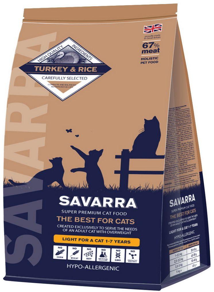 Корм сухой Savarra для взрослых кошек с избыточным весом и стерилизованных, с индейкой и рисом, 400 г5649150Сухой корм Savarra - это гипоаллергенный полнорационный корм для взрослых кошек с избыточным весом и стерилизованных.Изготовлен на основе свежего мяса индейки, как мяса наиболее диетического и нежного, обладающего прекрасной усвояемостью и содержанием питательных веществ. Совершенно очевидно, что польза индейки в том, что ее мясо содержит в большом количестве такие витамины, как А и Е. По содержанию натрия индейка существенно опережает даже говядину и телятину. Именно благодаря натрию происходит пополнение объемов плазмы в крови и обеспечиваются нормальные обменные процессы, что очень важно именно для животных с избыточным весом и стерилизованных. Также в состав корма добавлен L-карнитин - аминокислотное соединение лизина и метионина. L-карнитин оказывает влияние на метаболизм и помогает оптимизировать жировой обмен, что способствует избавлению от лишнего веса. Состав: свежее мясо индейки, дегидрированное мясо индейки, коричневый рис, рис, овес, горох, натуральный ароматизатор, семена льна, жир индейки, витамин А (ретинола ацетат), витамин D3 (холекальциферол), витамин Е (альфа-токоферола ацетат), аминокислотный хелат цинка гидрат, аминокислотный хелат железа гидрат, аминокислотный хелат марганца гидрат, аминокислотный хелат меди гидрат, метионин, таурин, юкка шидигера, глюкозамин, метилсульфонилметан, хондроитин, L-карнитин, яблоко, морковь, помидоры, морские водоросли, клюква, черника. Пищевая ценность: белки - 30%, масла и жиры - 12%, клетчатка - 2%, зола - 8.5%, влажность - 7%, омега-6 - 2.20%, омега-3 - 0.66%, кальций - 1.83%, фосфор - 1.37%, витамин А (ретинола ацетат) - 19667 МЕ/кг, витамин D3 (холекальциферол) - 1573 МЕ/кг, витамин Е (альфа-токоферола ацетат) - 87 мг/кг, аминокислотный хелат цинка гидрат - 583 мг/кг, аминокислотный хелат железа гидрат - 437 мг/кг, аминокислотный хелат марганца гидрат - 175 мг/кг, аминокислотный хелат меди гидрат - 44 м