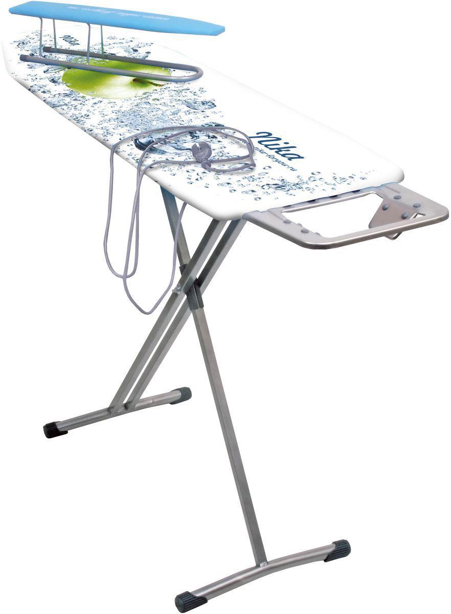Гладильная доска Nika Ника 10+, с удлинителемGC220/05Гладильный стол из металлического листа с отверстиями. Свободное прохождение и отражение пара благодаря перфорированной поверхности Плавная регулировка высоты до 0,9 м EURO подставка под утюг с термостойкими силиконовыми заклепками, специально для утюгов с тефлоновым покрытием Чехол из качественных х/б тканей ярких расцветокТефлоновый чехол, обладающий повышенными термо-, влаго-, грязеустойчивыми свойствамиУважаемые клиенты!Обращаем ваше внимание на возможные изменения в дизайне, связанныес ассортиментом продукции: цвет изделия или отдельных деталей может отличаться от представленного на изображении. Поставка осуществляется в зависимости от наличия на складе.