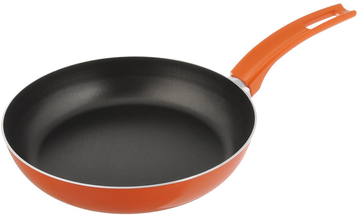 Сковорода Scovo Citrus Orange, с антипригарным покрытием. Диаметр 22 см54 009303Сковорода Scovo Citrus Orange выполнена из алюминия и имеет антипригарное покрытие. Покрытие исключает прилипание и пригорание пищи к поверхности посуды, обеспечивает легкость мытья посуды, исключает необходимость использования большого количества масла, что способствует приготовлению здоровой пищи с пониженной калорийностью.Для сохранения антипригарных свойств сковороды: - сковорода допускает применение деревянных и пластиковых аксессуаров - ложек, вилок, лопаток. Не используйте металлические аксессуары; - не допускайте сильного перегрева изделия без продуктов или воды - это может повредить антипригарное покрытие; - не допускайте приготовления или хранения в сковороде кислотных или щелочных растворов; - изделие не рекомендуется использовать в духовом шкафу. Сковорода оснащена пластиковой ручкой, благодаря чему она удобно уместится в руке и не выскользнет.Сковорода подходит для газовых, электрических и стеклокерамических плит. Также ее можно мыть в посудомоечной машине. Диаметр сковороды: 22 см. Высота стенки: 4,4 см.