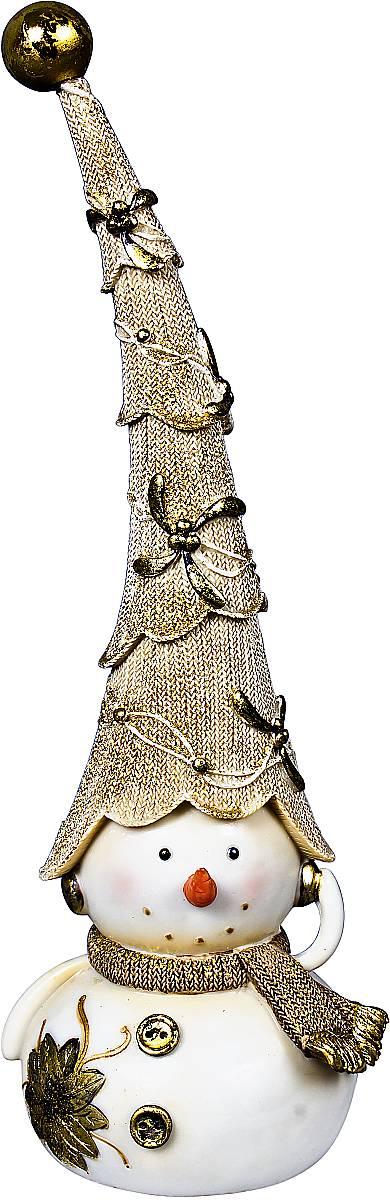 Статуэтка Mister Christmas Снеговик, цвет: белый, золотистый, высота 30 смБрелок для ключейСтатуэтка Mister Christmas Снеговик выполнена из полистоуна в виде забавного снеговика. Она привлекает к себе внимание и буквально умиляет, заставляя улыбнуться.Такой сувенир станет отличным подарком родным или друзьям на Новый год, а также он украсит интерьер вашего дома или офиса.Высота статуэтки: 30 см.