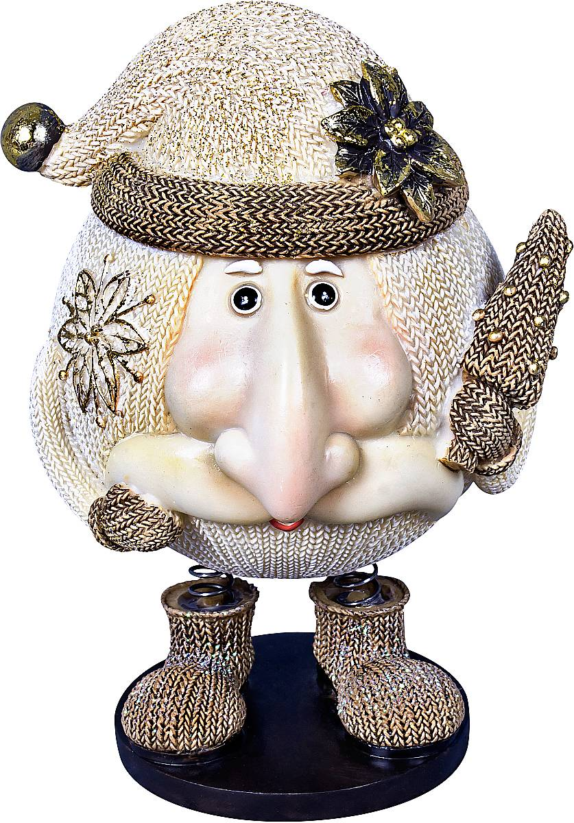 Статуэтка Mister Christmas Дед Мороз, цвет: белый, золотистый, высота 14 смБрелок для ключейСтатуэтка Mister Christmas Дед Мороз выполнена из полистоуна в виде забавного Деда Мороза на пружинках. Она привлекает к себе внимание и буквально умиляет, заставляя улыбнуться.Такой сувенир станет отличным подарком родным или друзьям на Новый год, а также он украсит интерьер вашего дома или офиса.Высота статуэтки: 14 см.