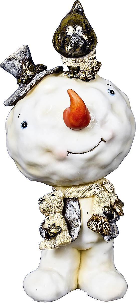 Статуэтка Mister Christmas Снеговик, цвет: белый, зеленый, высота 14,5 смБрелок для ключейСтатуэтка Mister Christmas Снеговик выполнена из полистоуна в виде забавного снеговика. Она привлекает к себе внимание и буквально умиляет, заставляя улыбнуться.Такой сувенир станет отличным подарком родным или друзьям на Новый год, а также он украсит интерьер вашего дома или офиса.Высота статуэтки: 14,5 см.
