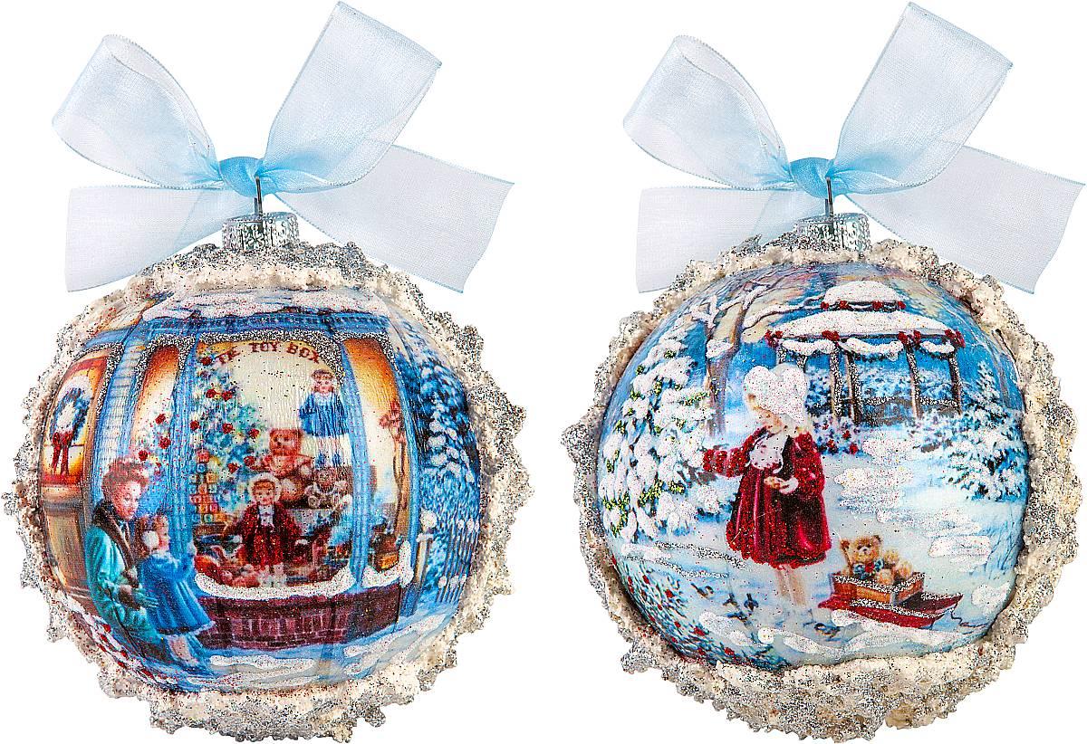 Набор новогодних подвесных украшений Mister Christmas Коллекционные шары, диаметр 10 см, 2 штV1520/1AНабор подвесных украшений Mister Christmas Коллекционные шары прекрасно подойдет для праздничного декора новогодней ели. Набор состоит из двух украшений, выполненных из ПВХ. Для удобного размещения на елке для каждого украшения предусмотрена петелька в виде бантика. Елочная игрушка - символ Нового года. Она несет в себе волшебство и красоту праздника. Создайте в своем доме атмосферу веселья и радости, украшая новогоднюю елку нарядными игрушками, которые будут из года в год накапливать теплоту воспоминаний.