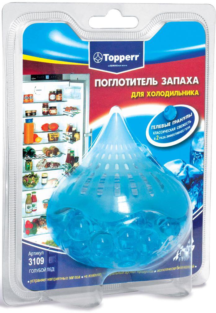 Поглотители запаха Topperr Голубой лед для холодильника, гелевый391602Длительное хранение пищевых продуктов в холодильнике вызывает появление неприятного запаха. Гелевый поглотитель изготовлен из безопасных минеральных и углеродных адсорбентов, экологически безвреден, предназначен для устранения неприятных запахов в холодильной камере. Благодаря свой форме, гелевые шарики позволяют свободно циркулировать воздуху, тем самым ускоряя процесс поглощения неприятного запаха вдвое по сравнению с другими поглотителями.Срок годности три года, с момента вскрытия защитной упаковки – 1,5 месяца.Вес: 100 гСпособ применения:снимите защитную пленку, прикрепите круглую двустороннюю липучку на дно поглотителя, зафиксируйте поглотитель в любом удобном месте в Вашем холодильнике.