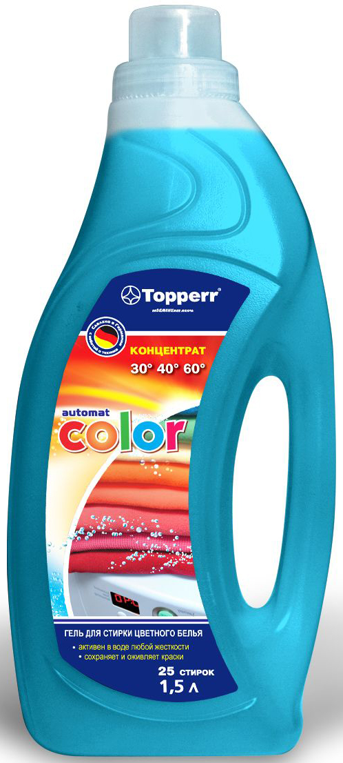 Гель для стирки цветного белья Topperr Color, концентрат, 1,5 л106-026Гель для стирки Topperr Color - уникальное концентрированное моющее средство на гелевой основе. Концентрированный гель для стирки цветного белья Topperr Color демонстрирует высокую эффективность при стирке и бережный уход за тканью. Активная формула цвета сохраняет и оживляет краски, предотвращает их смешивание. Придает белью мягкость и тонкий аромат свежести. Предотвращает образование накипи на внутренних частях стиральных машин. Не содержит фосфата и формальдегида. Активен в воде любой жесткости.Товар сертифицирован.