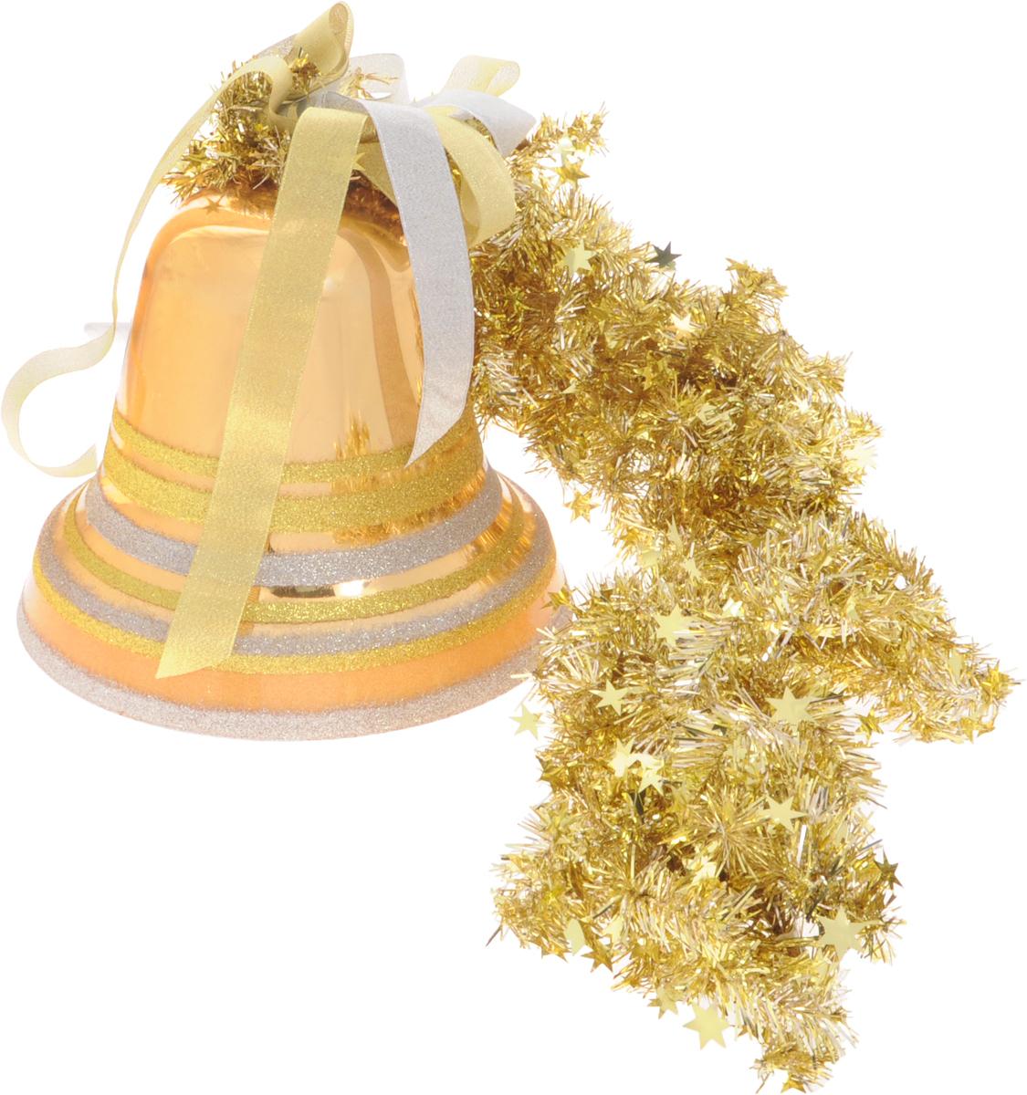 Украшение новогоднее подвесное Weiste Колокол, цвет: золотой, длина 95 смN09384Новогоднее подвесное украшение Weiste Колокол выполнено из пластика и ПВХ. Изделие оформлено блестками. С помощью мишуры украшение можно повесить в любом понравившемся вам месте.Елочная игрушка - символ Нового года. Она несет в себе волшебство и красоту праздника. Создайте в своем доме атмосферу веселья и радости, украшая новогоднюю елку нарядными игрушками, которые будут из года в год накапливать теплоту воспоминаний.Размер колокольчика: 25 х 25 х 21 см.Общая длина: 95 см.