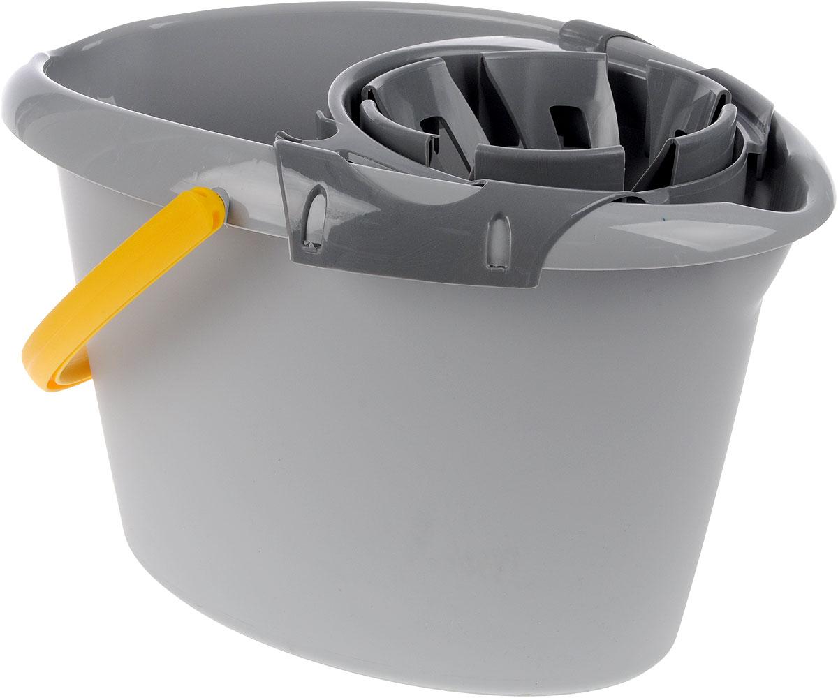 Ведро Apex, с насадкой для отжима швабры, цвет: серый, желтый, 12 лкн12-60авцОвальное ведро Apex изготовлено из прочного пластика. Изделие порадует практичных хозяек. Ведро снабжено специальной насадкой с технологией Power Press, которая обеспечивает интенсивный отжим ленточных швабр. Это значительно уменьшает физические нагрузки при мытье полов. Насадка надежно крепится на ведро и также легко снимается, позволяя хранить ее отдельно. Для удобного использования ведро имеет пластиковую ручку и носик для выливания воды.